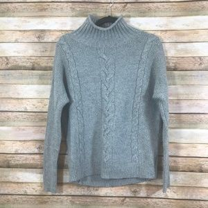 Gap Gray Cable Knit Turtleneck Sweater Sz S